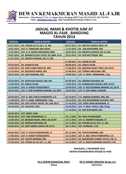 2014-Jadual Imam Khotib Jumat Masjid Al-Fajr