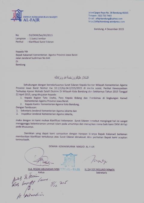 Surat DKM Al-Fajr ke Kemenag Jabar`